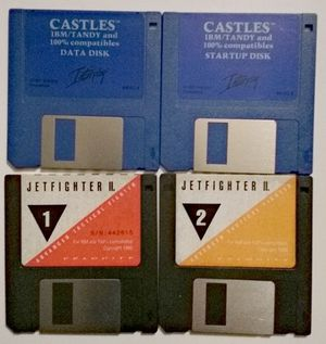 Untested sold as is 4 3.5 inch disks vintage pc games castles and jetfighter 2 for Sale in Irving, TX