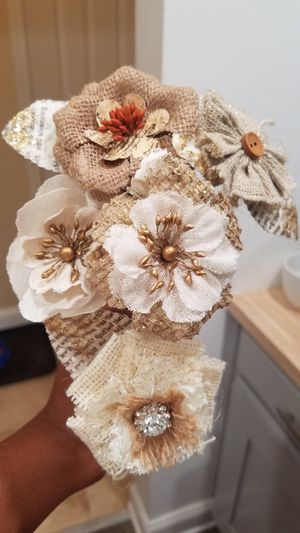 Book page and fabric flowers for Sale, used for sale  Morris Plains, NJ