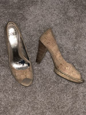 Sofft cork and gold peep toe heels, size 8.5 for Sale in Alexandria, VA