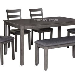 NEW, 6 PC DINING SET, GREY. for Sale in Santa Ana,  CA