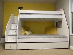 Berg furniture Bunk bed Twin over Full with Trundle and storage steps for Sale in Marlboro Township, NJ