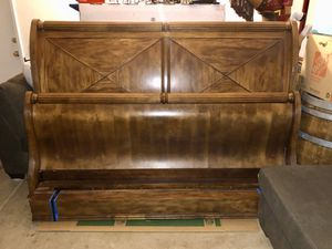 King size Wooden sled aged wood Bed frame for Sale in Lake Elsinore, CA