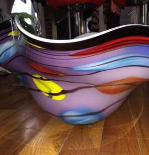 Beautiful large glass art abstract bowl for Sale in Washington, DC