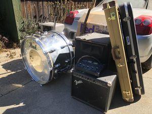 Pearl Japanese kick drum Fender guitar vases Realistic mixer Cooler for Sale in Riverside, CA
