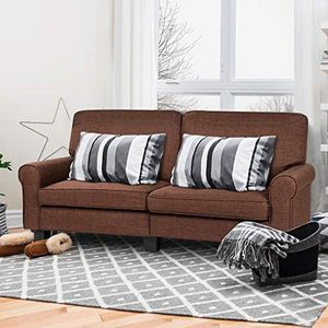 Sofa Couch Loveseat Fabric Upholstered Removable Back Seat Cushion Modern Home Living Room Furniture Set Bedroom Sofa (Brown) for Sale in Brea, CA