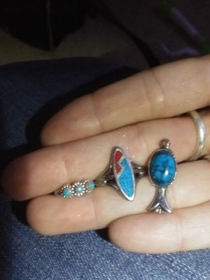Marked turquoise and coral ring, toe ring and pendant for Sale in Junction City, OR