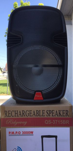 15 inch rechargeable Bluetooth speaker/aux/Fm/USB and SD port/microphone/karaoke/many styles available!! Brand new!! for Sale in Moreno Valley, CA