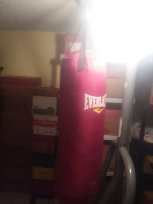 80lb punching bag. With stand. Sandbags and bungee chord to secure bag in place.