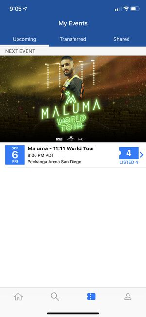 4 tickets for Maluma 11:11 Tour Friday Sept. 6 in San Diego for Sale in Corona, CA