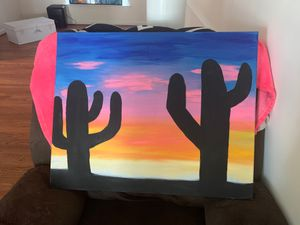 Hand painted cactus canvas for Sale in Chester, VA