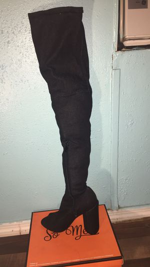 "Thigh high Black ""Jean Vibe"" high heal Size 7 from So Me for Sale in Tampa, FL"