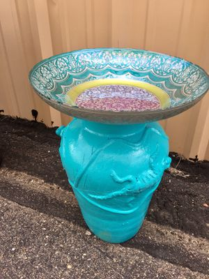 Bird Bath Turquoise! Ornate glass bowl with Pottery stand. Make your garden pop with color! for Sale in Bayfield, CO