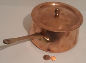 "Vintage Metal Copper and Brass Pot, Pan, 13"" Long and 7"" x 4"" Pot Size, Heavy Duty, Cookware, Kitchen Decor, Hanging Decor, Shelf Display for Sale in Lakeside, CA"