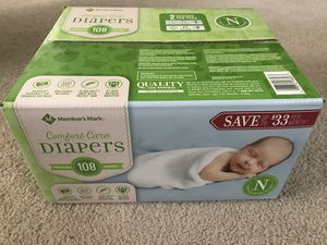 Comfort Care Diapers ( up to 10 lbs) Newborns 108 counts for Sale in Marietta, GA