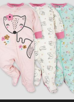 Baby Girl 3pk Fox Zip -front Sleep & Play for Sale in The Bronx,  NY