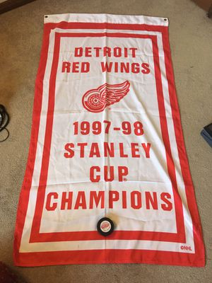 Red Wings flag and puck for Sale in Oswego, IL