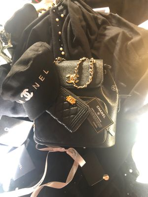 Black caviar leather back pack with wallet gold trim for Sale in Arlington, TX