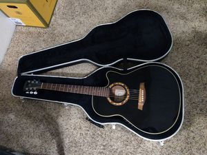 Ibanez full size electric acoustic guitar with hard case and tuner for Sale in Chico, CA