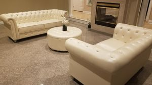 New Cream Leather Chesterfield Sofa and Loveseat for Sale in Washington, DC