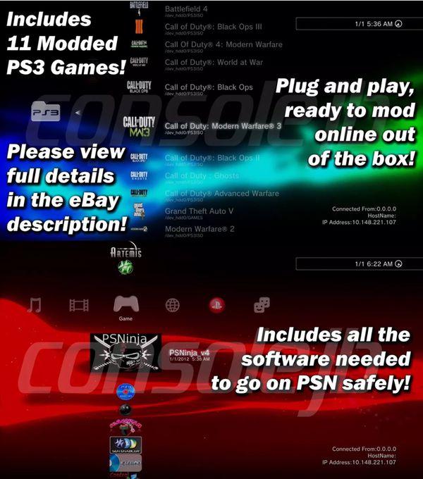 JAILBROKEN PS3 ONLINE READY 11 GAMES COD+GTAV 200+ MOD MENUS REBUG DEX  OFW3 55 LIKE NEW for Sale in Lititz, PA - OfferUp