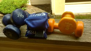 Bollinger Brand 8 lb and 5 lb dumbbell set an MTA ankle weights for Sale in Columbus, OH