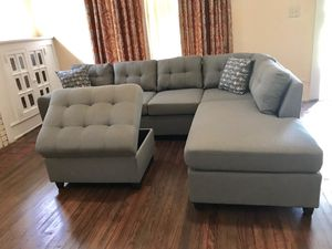 TODAY ONLY!!! $699 (Brand New In Boxes) Gray Tuft Fabric Sectional And Ottoman for Sale in Atlanta, GA