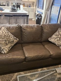 Leather Memory Foam Queen Sleeper Couch W Matching Loveseat for Sale in Nashville,  TN