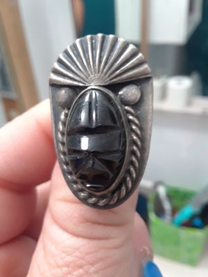 Sterling ring with Aztec black onyx mask for Sale in San Jose, CA