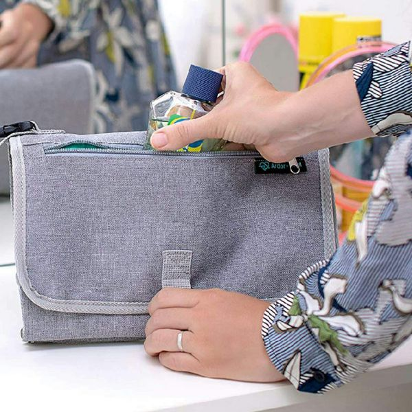 Portable Diaper Changing Pad and Clutch for Baby and Infant. Change Table Cover with Wipeable Mat.