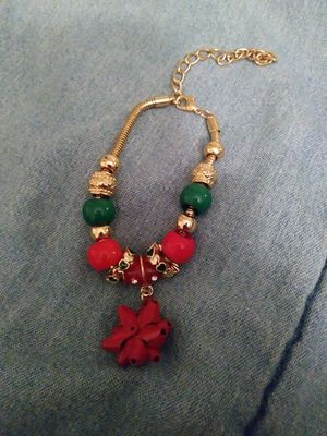 Gold Plated Christmas Bow Charm Bracelet for Sale in Detroit, MI