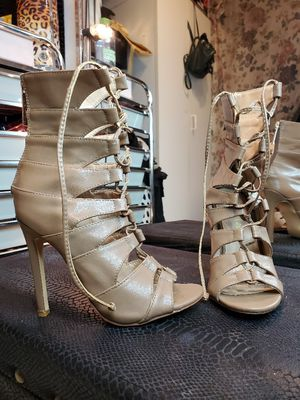 Liliana Khaki Peeked Toe Heeled Booties for Sale in West Covina, CA