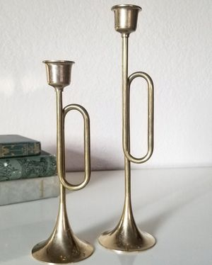 Vintage brass trumpet candle holders for Sale in Newberg, OR