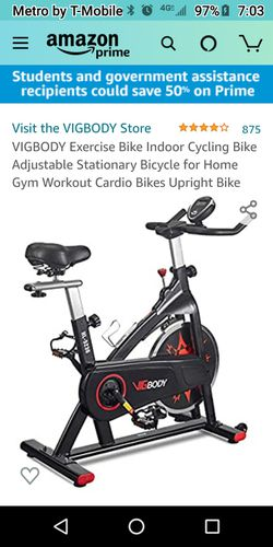 Exercise Bike, EXERCISE BIKE INDOOR CYCLING BIKE ADJUSTABLE STATIONARY BICYCLE FOR HOME GYM WORKOUT CARDIO BIKES UPRIGHT BIKE for Sale in Phoenix,  AZ
