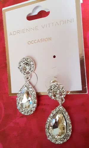 Shipping or PickUp: New Adrienne Vittadini silvertone faux diamond acrylic drop with crystal earrings for Sale in Fullerton, CA