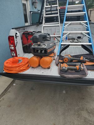 Rigid quiet air compressor with air hose, framing and finish nail guns for Sale in Anaheim, CA