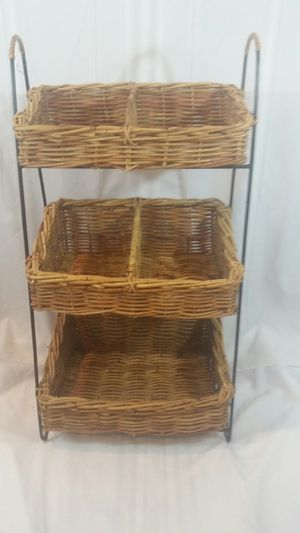 Three Tier Rattan Wicker Storage Basket Rack 36 x 18 x 14 for Sale in Coral Springs, FL