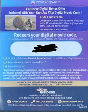 Disney The Lion King Digital Movie Code for Sale in Washington, DC