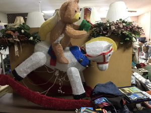 Lighted rocking horse with teddy bear for Sale in Winter Haven, FL
