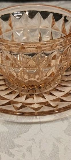 Pink Depression Glass Cup & Saucer (Reacts To Blacklight) for Sale in Everett,  WA