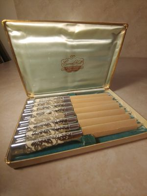 Antique/vintage Carvel hall steak knife set with silver and ivory for Sale in Clifton, VA
