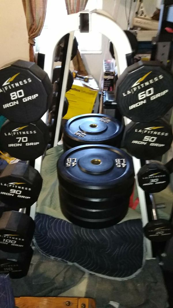 Iron grip urethane fixed curl bars 20 30 50 60 70 80 90 100 110 & cybex rack My personal set $3800 almost $6000 new American Made
