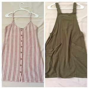 Teens Ladies Women's Dresses - Forever 21 Pink and White Striped dress / Xhileration Olive Green dress size small for Sale in Phoenix, AZ