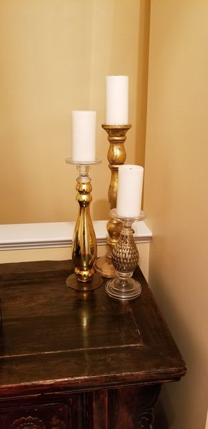 Triple tiered gold candle holders for Sale in Fort Meade, MD