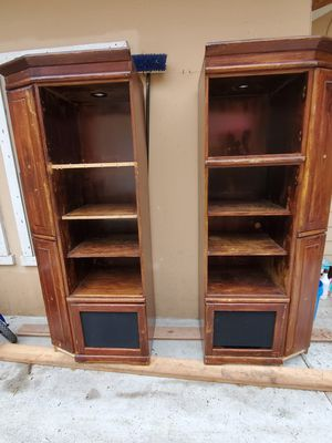 2 cabinets with shelves with dvd storage or CDs and display shelves for Sale in Dallas, TX