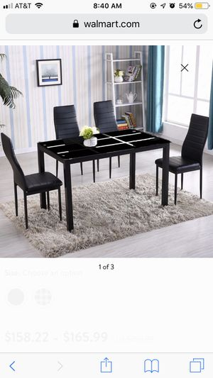 Zimtown New Modern 5 Pcs Dining Table Set With 4 Leather Chairs Kitchen Room Furniture All Black/ White Stripe for Sale in Terre Haute, IN