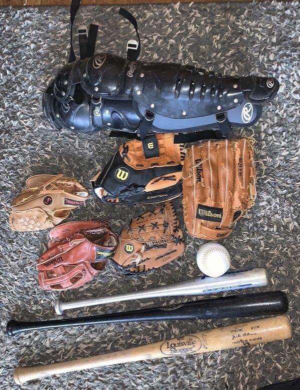 Baseball set (bats/gloves/catcher pads)