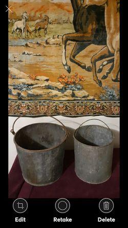 2--Vintage Primitive Farmhouse Buckets for Sale in Lynchburg,  VA