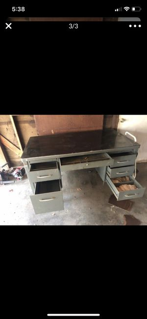 Large vintage metal desk with glass top for Sale in Visalia, CA