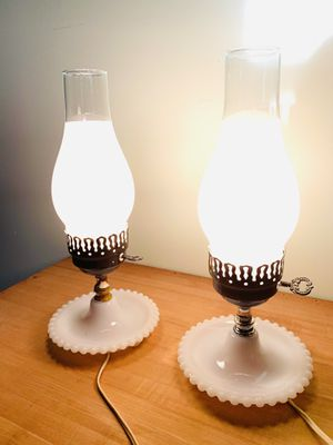 VINTAGE 1950's Milk Glass table lamps Pair for Sale in Quincy, MA
