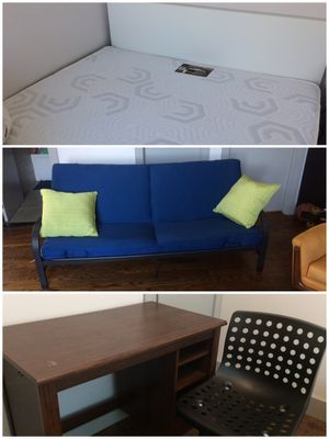 All for $249: Queen Orthopedic Mattress, Full spring mattress, couch, Box spring , desk for Sale in Brooklyn, NY